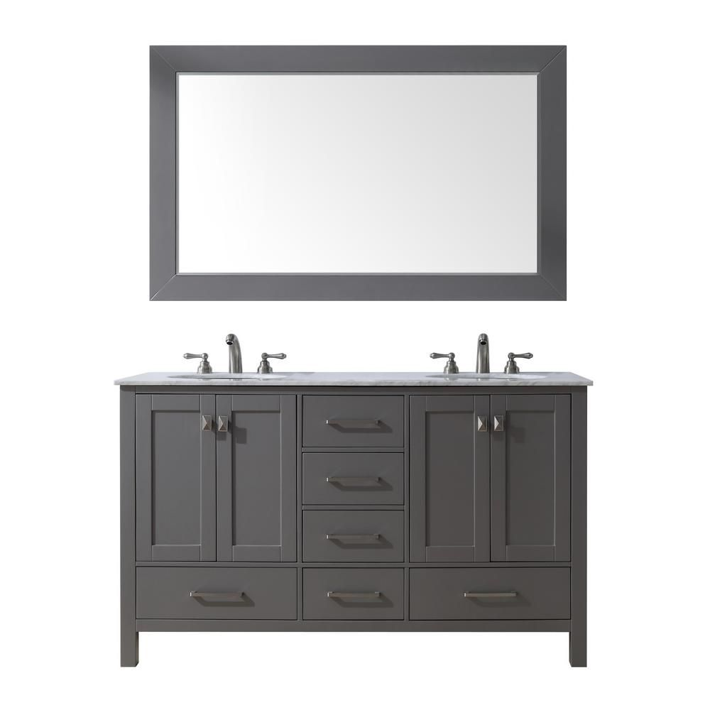 Malibu Double Sink Vanity In Gray With Marble Top Carrara White Basin Mirror