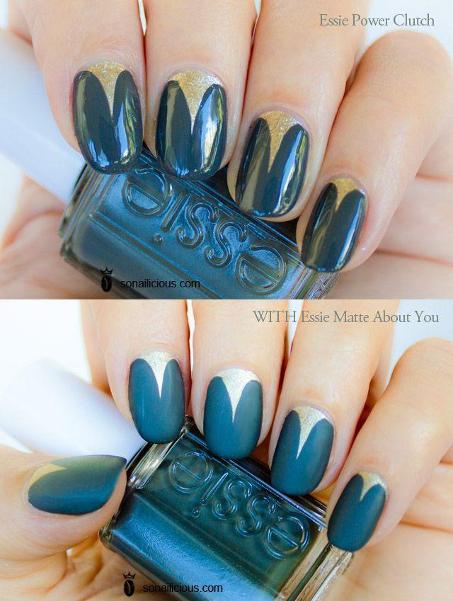 Matte top coat over gothic moon nails | Estilo