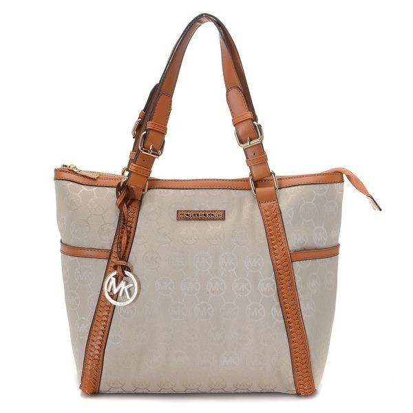 Michael Kors Whipped Large Zip Top Monogram Tote With Beige Camel Leather Handbags Outletmichael