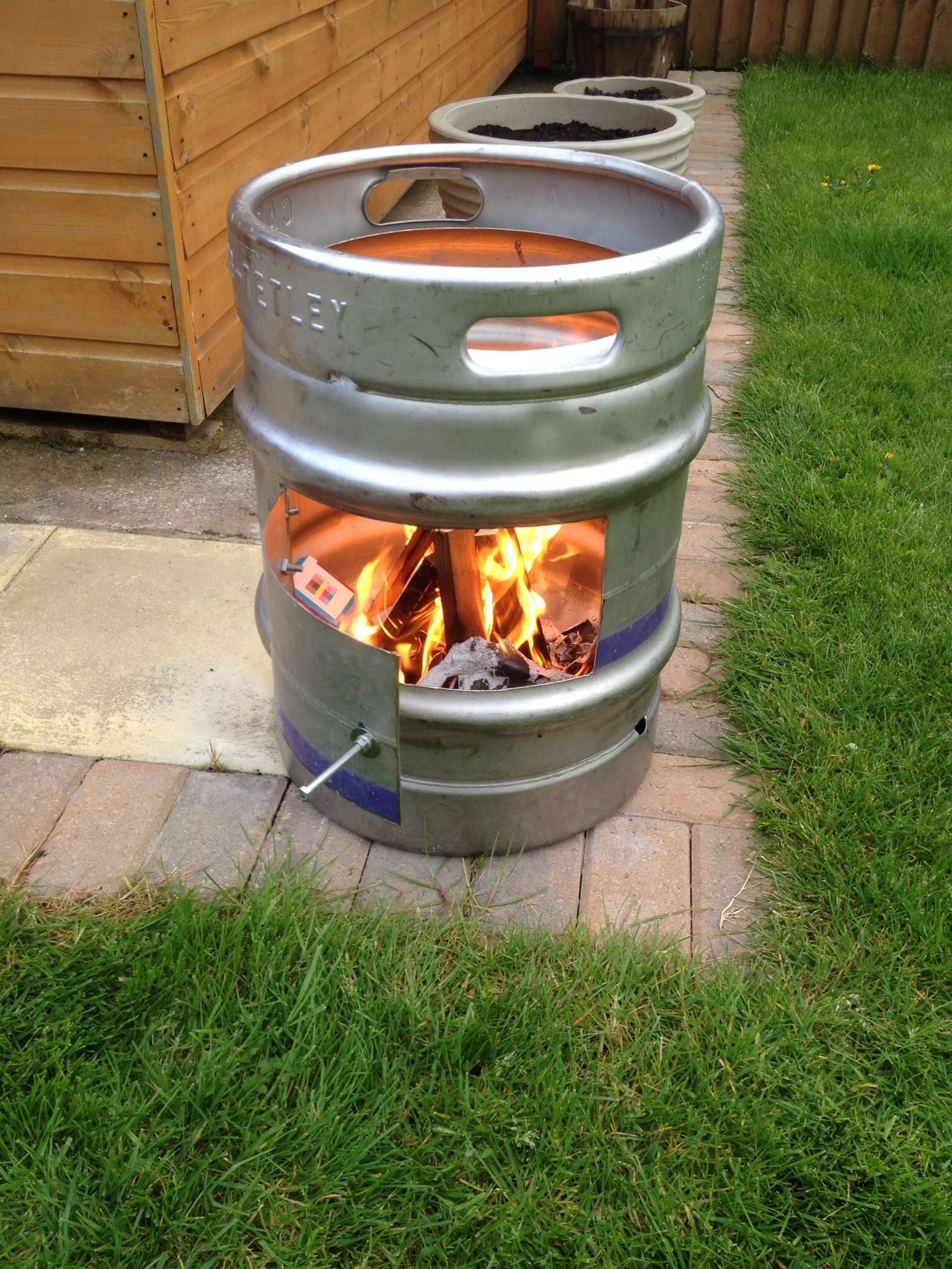 Backyard Urinal Ideas : Beer barrel wood burner projects to try in