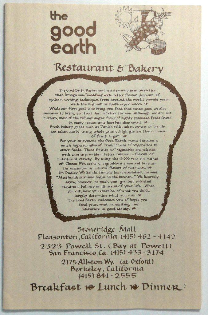 Original Vintage Menu GOOD EARTH Restaurant & Bakery