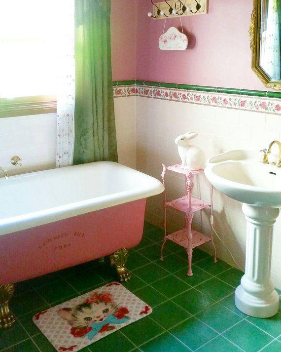 New Vintage Kitsch Retro Style Allee Mat Cat Bath Mat Indoor Bedroom Bathroom Floor Rug Kitten Stylish Bathroom Vintage Bathrooms Trendy Bathroom