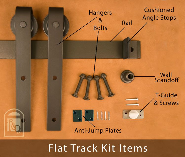 Flat Track Sliding Barn Door Hardware Kits