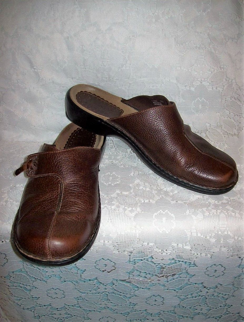 BRAZILIAN MADE CLARKS CHOCOLATE BROWN LEATHER CLOGS NWOT 9M SUPER COMFY