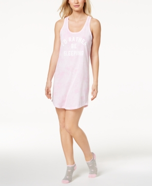 d54e4d3bfc1c Jenni by Jennifer Moore Screen-Print Keyhole Sleepshirt With Socks, Created  for Macy's - Pink S