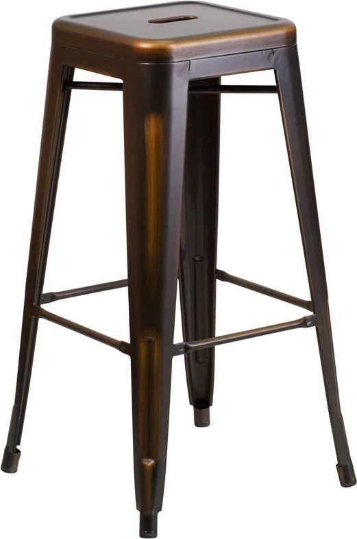 Buy Tolix 30 High Backless Distressed Metal Indoor Industrial