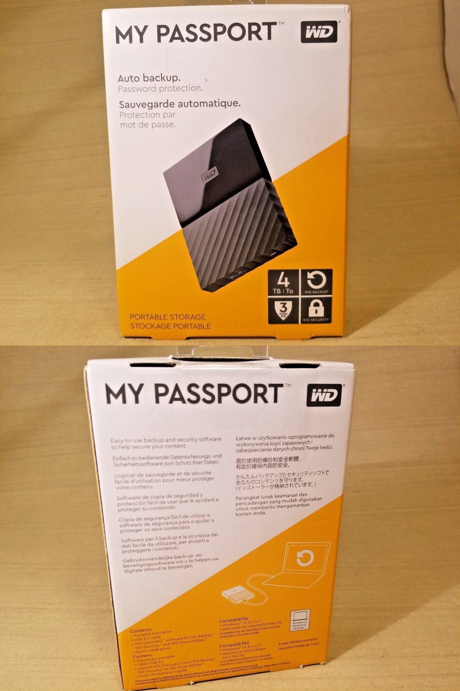 Wd My Passport 4tb External Usb 3 0 Portable Hard Drive Black Western Digital Portable Hard Drives Hard Disk Drive Digital