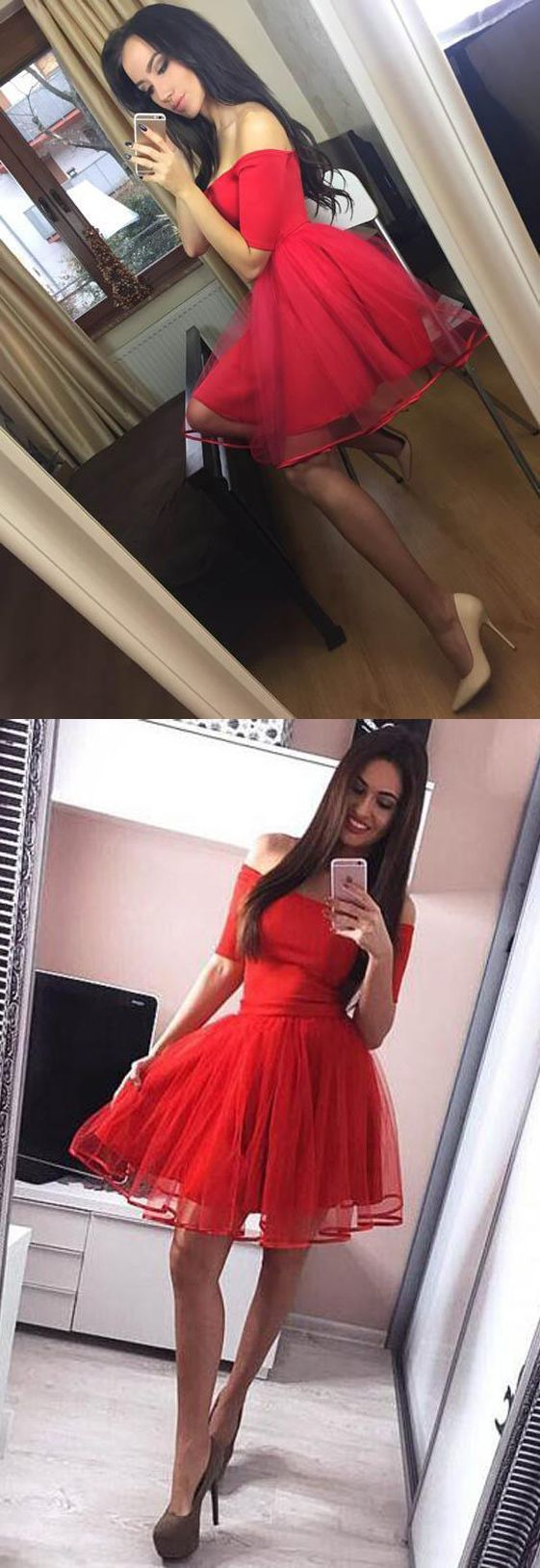 Off the shoulder red homecoming dresses short sleeves cheap prom