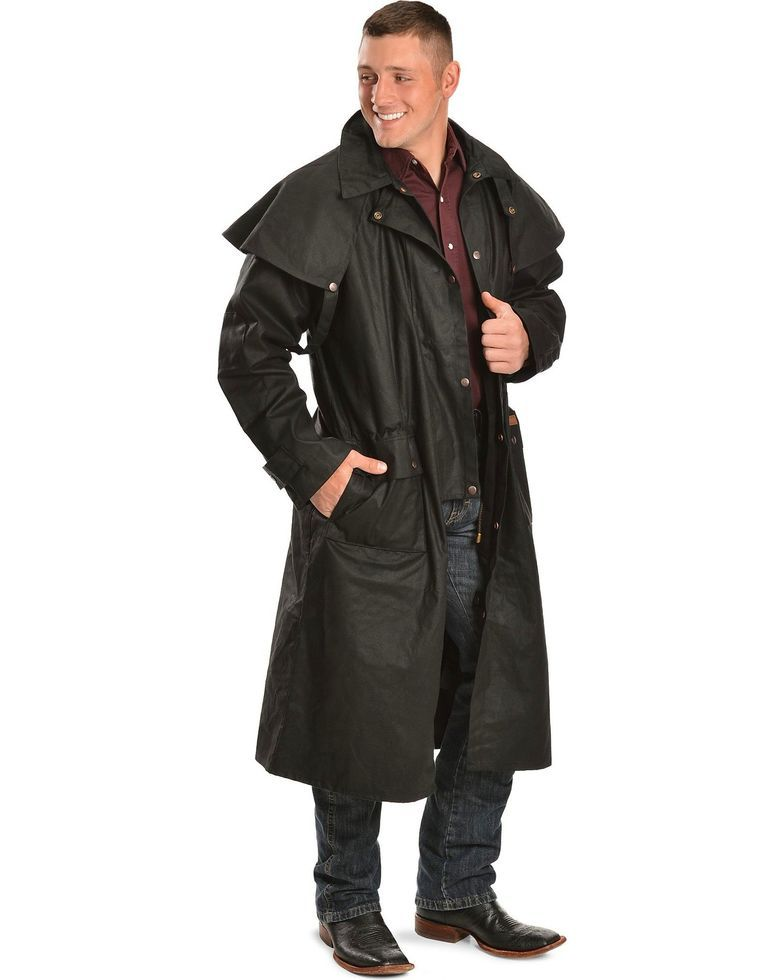 Outback Trading Co Men S Long Oilskin Duster In 2020 Mens Duster Coat Oilskin Duster Leather Jacket Outfits