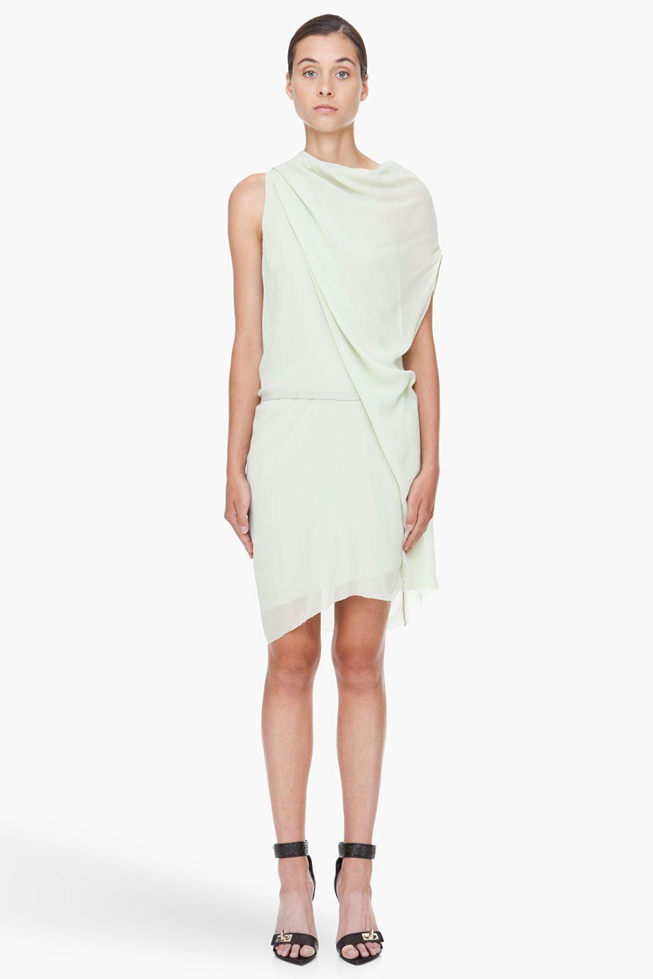 c9d2e65c64071 green silk belt dress △ helmut lang