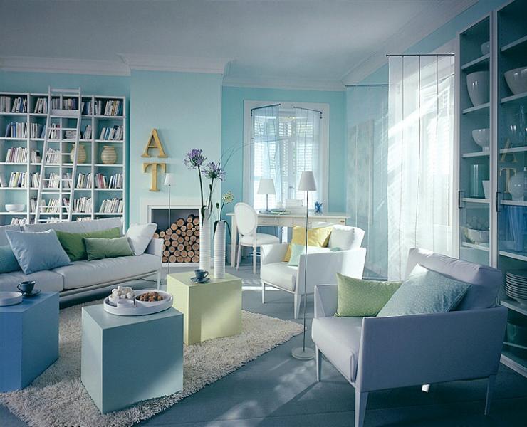 Wohnzimmer Türkis ~ Wohnen mit farben einrichten mit blau wohnzimmer türkis und