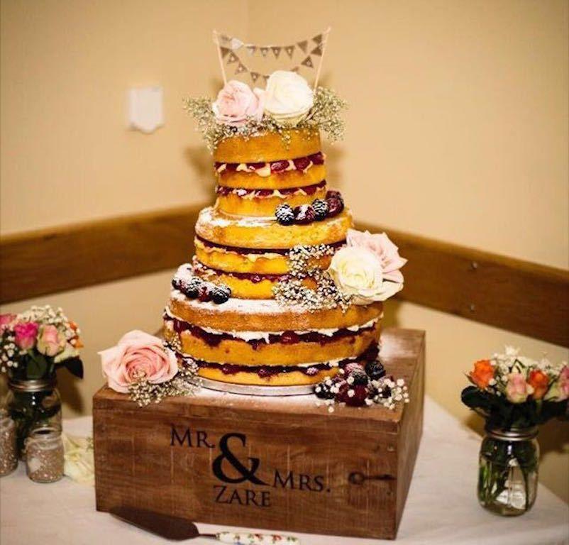 Wedding Cake Stand Personalised Shabby Chic Vintage Cornish Wood Rustic