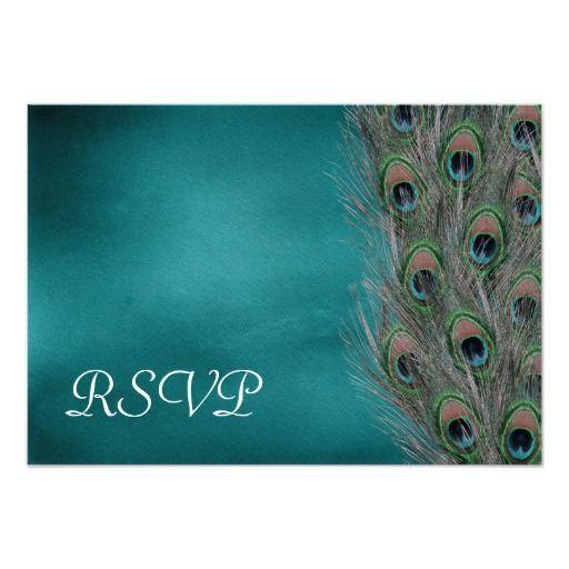 Lavish Peacock Feathers Wedding RSVP Response Card Custom Invitations