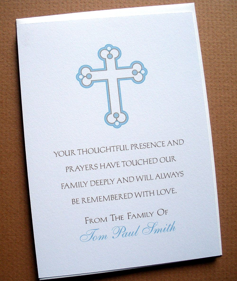 Religious - Sympathy Thank You Cards with a Cross - English or ...