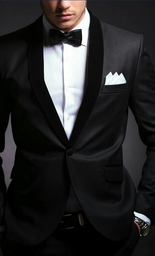 42c5da248498 Black tuxedo, white dress shirt, and black bow tie with white pocket square  and black belt.