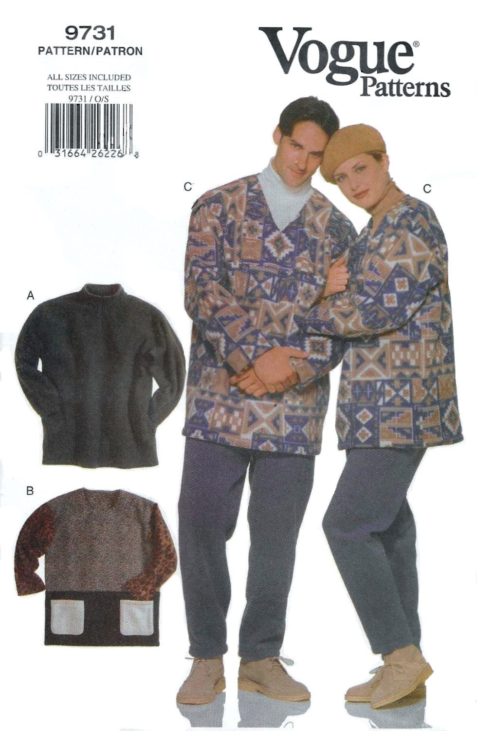 Vogue 9731 Unisex 90s Pullover top Top & Tapered Pants Sewing Pattern Chest…