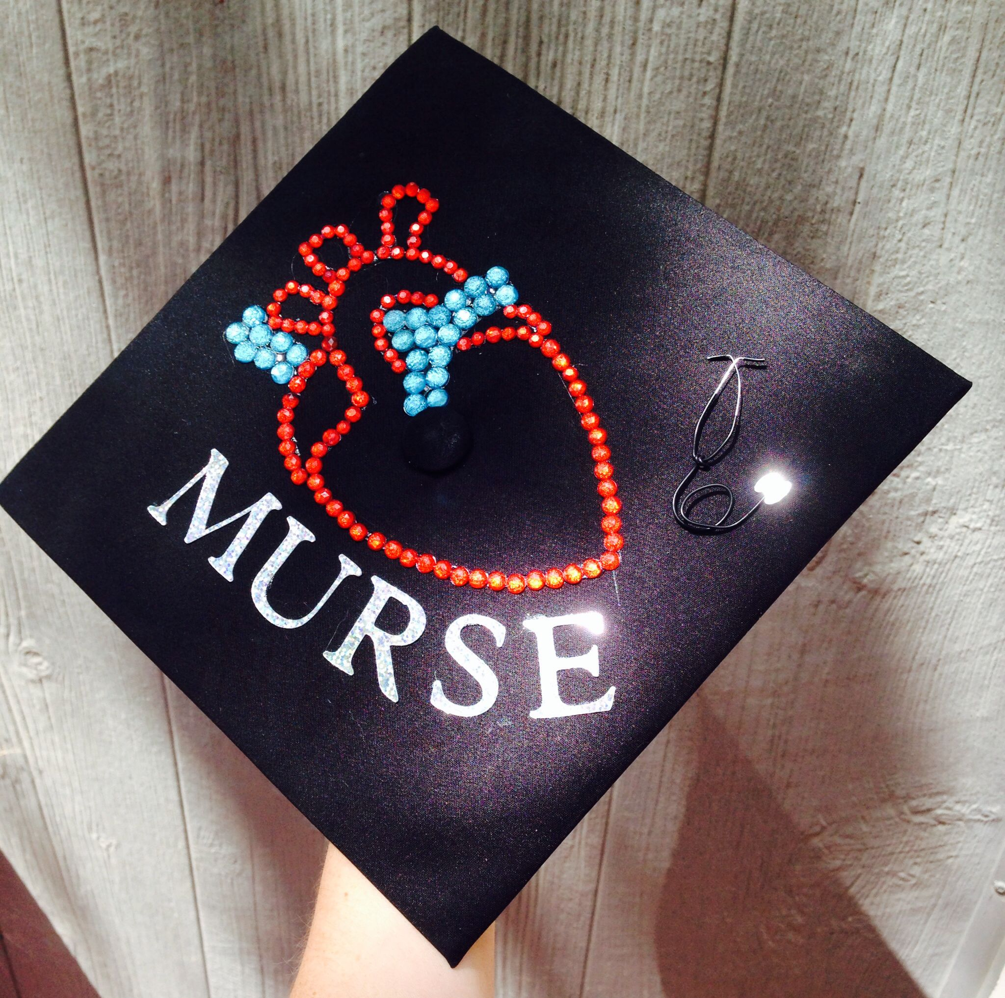 Anatomically correct kinda heart Graduation cap nursing I made