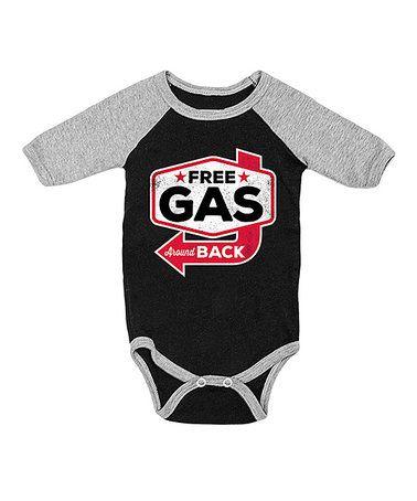 Black & Athletic Heather 'Free Gas Around Back' Raglan Bodysuit - Infant #zulily #zulilyfinds