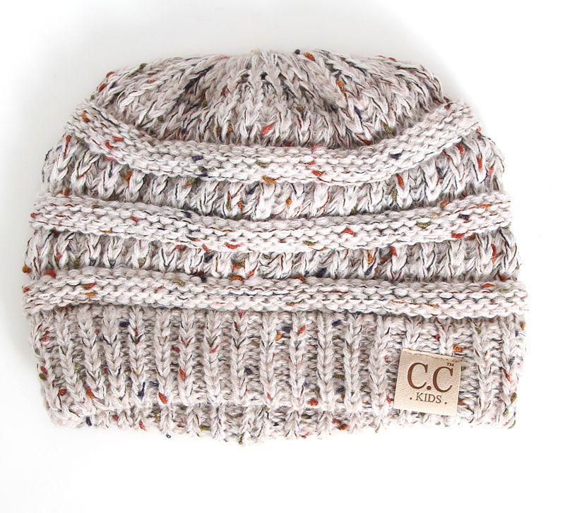 c9318eba191e6 C.C. Beanie Confetti Cable Knit Beanie for Kids in Oatmeal YJ817-KIDS -OATMEAL