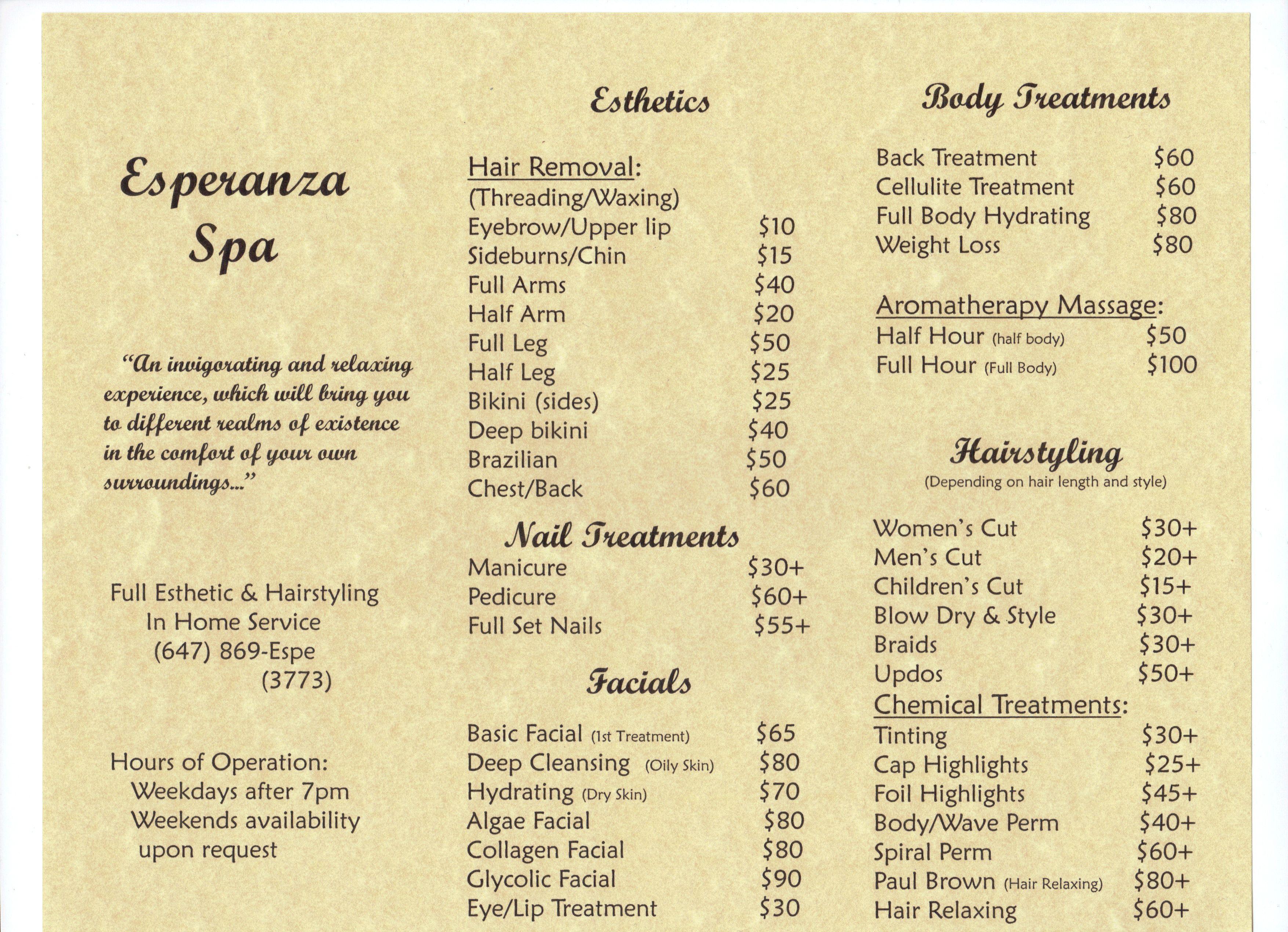 My Mobile Esthetics Business Price List Esthetics Esthetician Skin Care Specialist