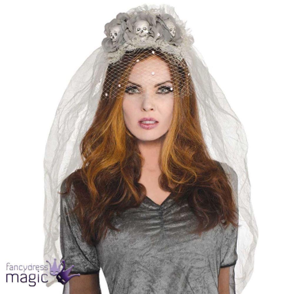 Gothic Grey Ghost Bride Veil Headband