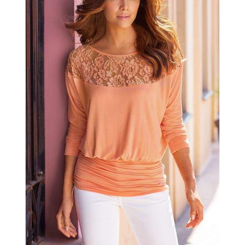 690d964c28f Fashion Women Summer Loose Casual Chiffon Long Sleeve Lace T Shirt ...