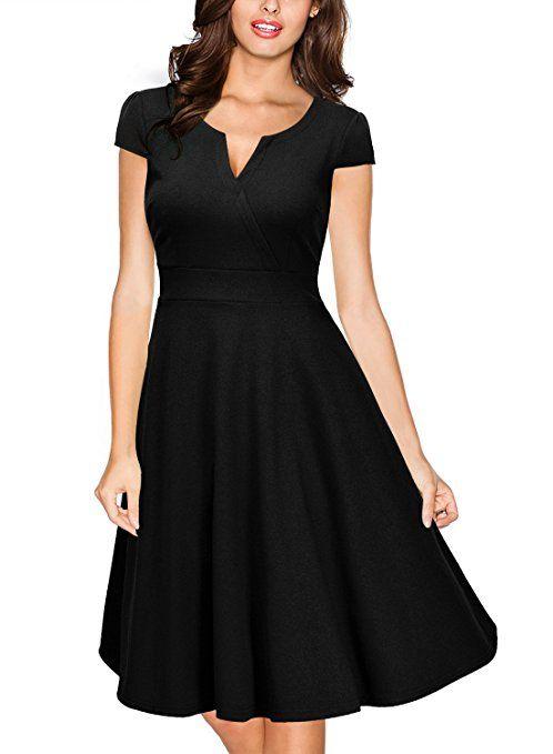 086cb155c9b4 Miusol Women s Retro V Neck Cap Sleeve 1950 S Cocktail Evening Swing Dress ( Small, Black)