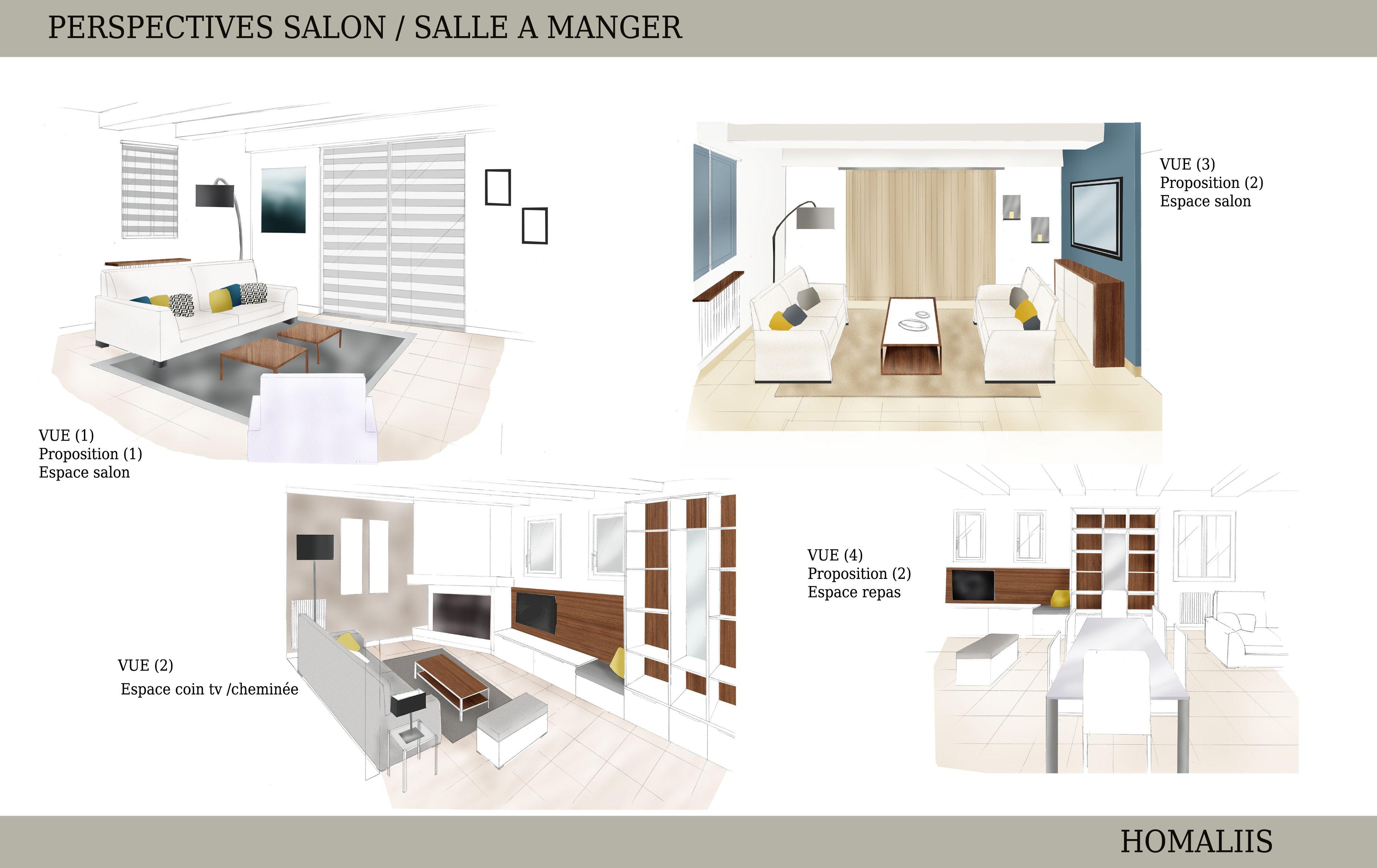Plan Amenagement Salon Sejour planche de perspectives , projet d'aménagement et décoration