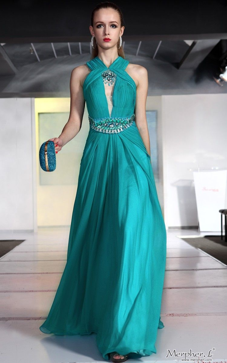 Elegant Bridesmaid Ball cyan Halter Chiffon Beading Draped Long ...