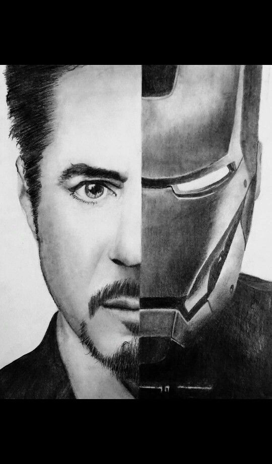 Tony Stark And Iron Man With Images Pencil Sketch Portrait