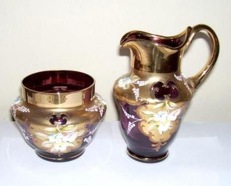Bohemian Amethyst Glass Creamer Sugar Bowl Flowers Gold