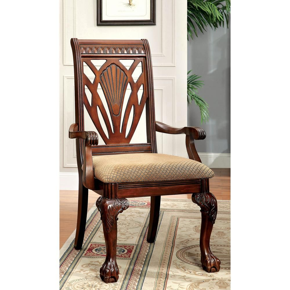 32 Stylish Dining Room Ideas To Impress Your Dinner Guests: Petersburg I Cherry Traditional Style Arm Chair CM3185AC