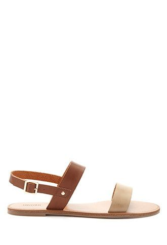 ab1c5abc8 Two-Tone Faux Leather Sandals