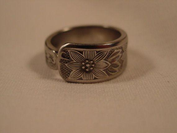 Sterling Spoon Ring Size 9 1/4 Handmade by SpoonRingsPlus on Etsy, $14.00
