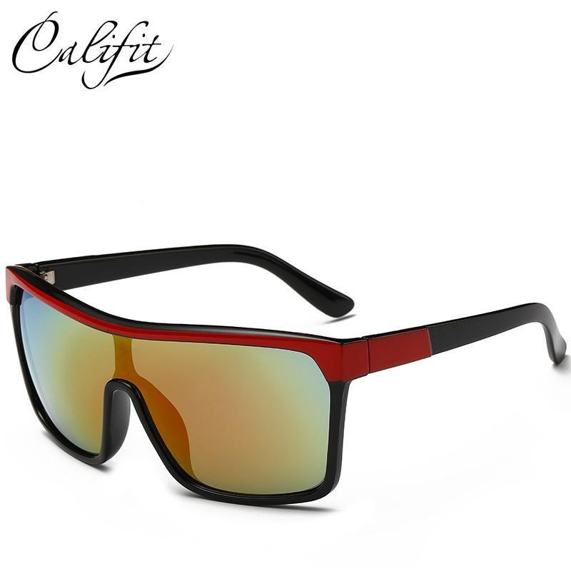 8ea5548ee CALIFIT 2018 Coating Lens Men Shield Sunglasses Male Big Frame Eyewear  Fashion Points Sun Brand Design Sun Glasses UV400 Shades