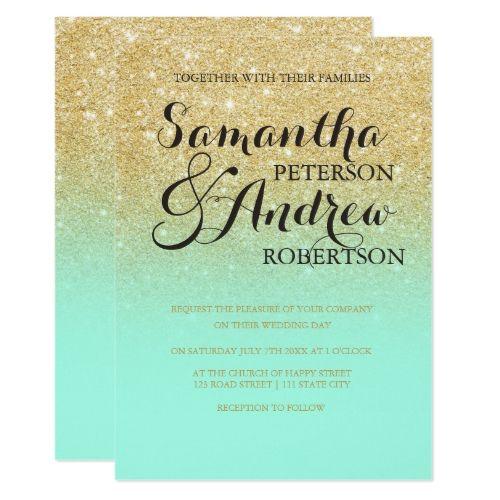 Chic Faux Gold Glitter Mint Green Wedding Invitation