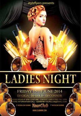 elegant ladies night party free flyer template design flyer