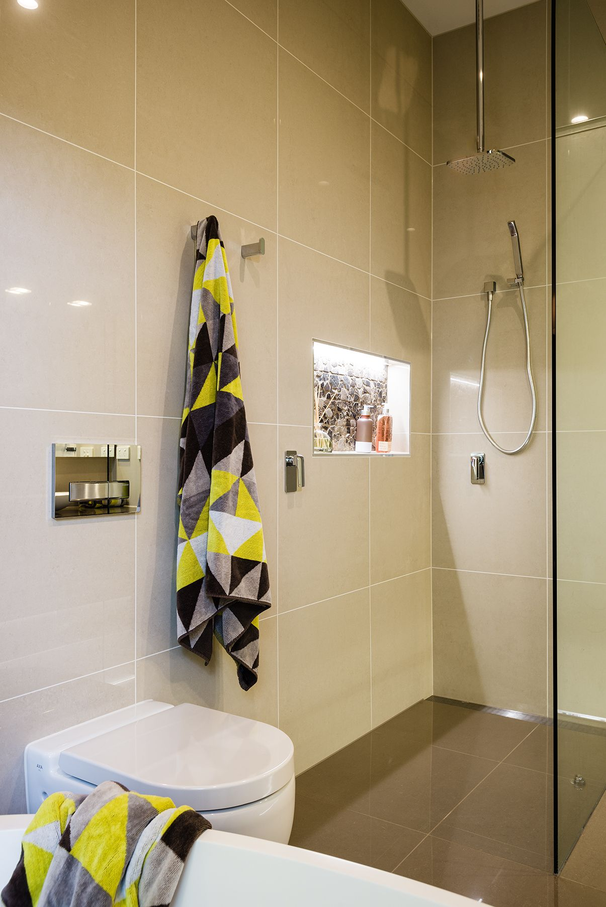 Perfect ... Shower Contrast Beautifully With The Organic Pebble Backed Recessed  Shower Shelf, With Built In LED Lighting For Stunning Effect. Shower Grate,  In Wall ...
