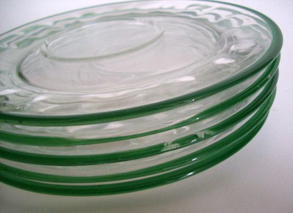 Vintage Glass Plates Luncheon or Snack Plates Clear with Green Band Set of 6 Cup Holder Glass Plates Home Decor Kitchen Snack Set Serving & Vintage Glass Plates Luncheon or Snack Plates Clear with Green Band ...