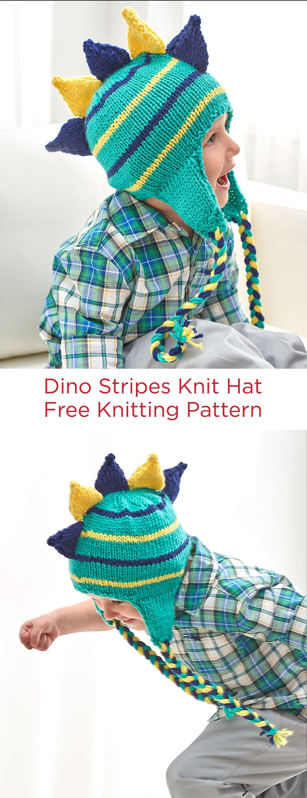 Dino Stripes Knit Hat Free Knitting Pattern in Red Heart Yarns ...