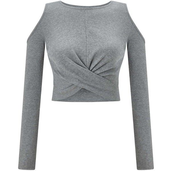 Miss Selfridge Grey Twist Cold Shoulder Crop Top ($40) ❤ liked on Polyvore featuring tops, grey, gray crop top, ribbed long sleeve top, fitted tops, cropped tops and open shoulder crop top