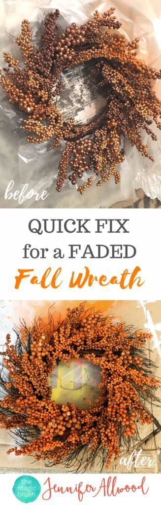 Spruce Up a faded Fall Wreath with Spray Paint or buy a new clearance berry wreath and paint it the right color | Magic Brush | Fall Decorating Ideas