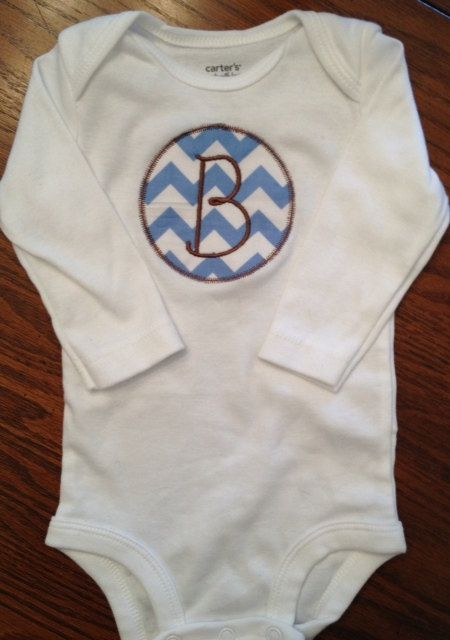 monogrammed initial onesie for infant boy