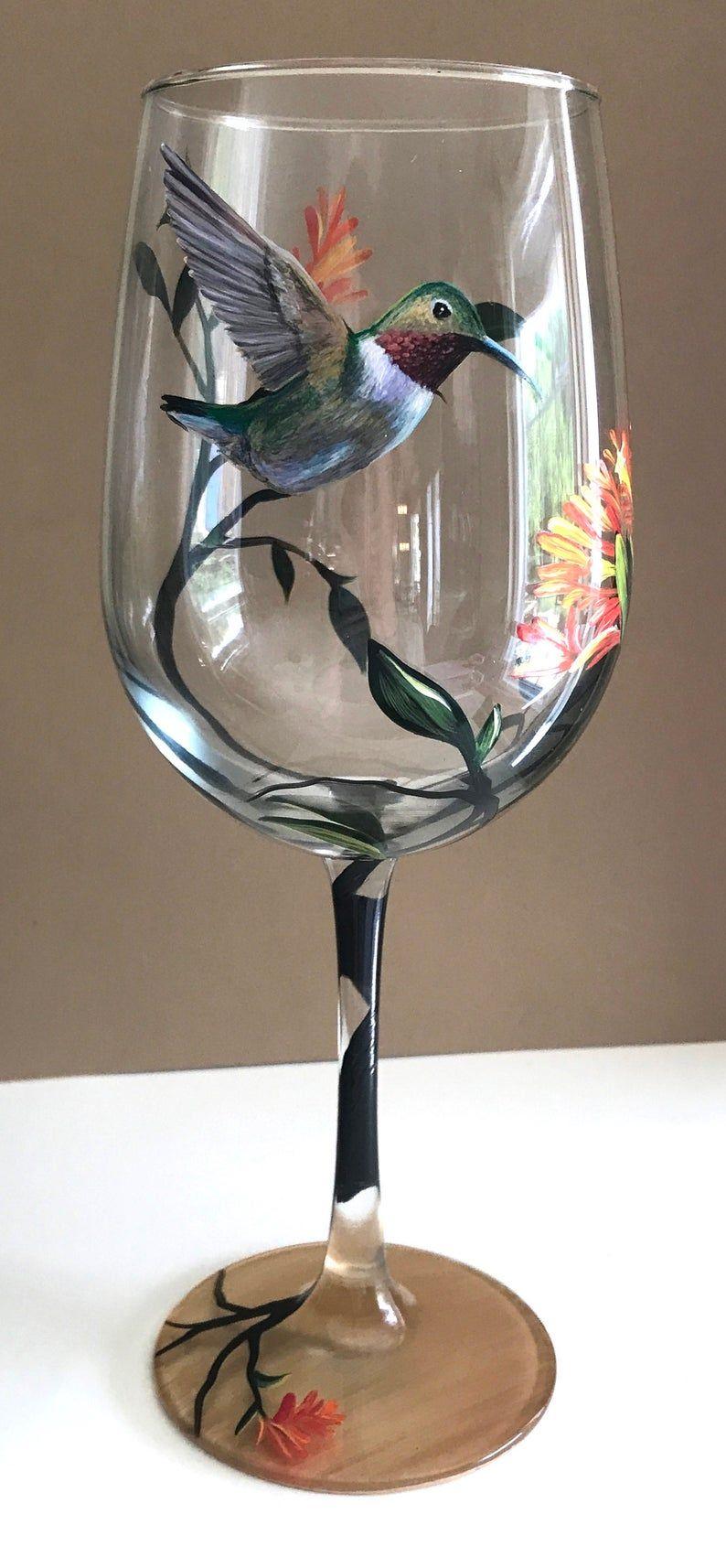 Hummingbird Wine Glass Hand Painted Floral Tree Summer