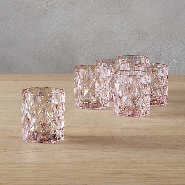 Set Of 6 Betty Pink Tea Light Candle