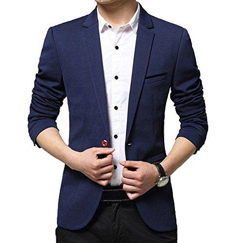 Mens Slim Fit One Button Blazer Jacket Lapel Collar Casual Long sleeve Outwear D