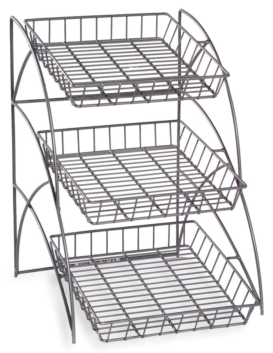 3 Tiered Wire Rack Display Tabletop 14 W Open Shelves Silver