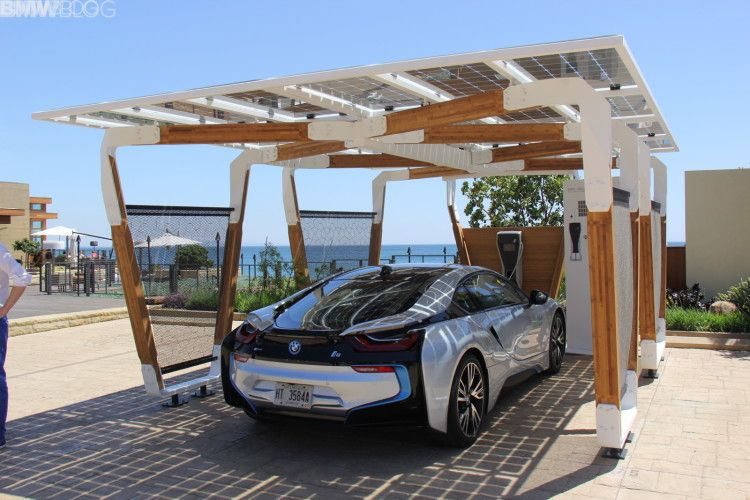 Bmw Designworks Solar Carport And Bmw I Wallbox Pro Carport Designs Carport Plans Carport