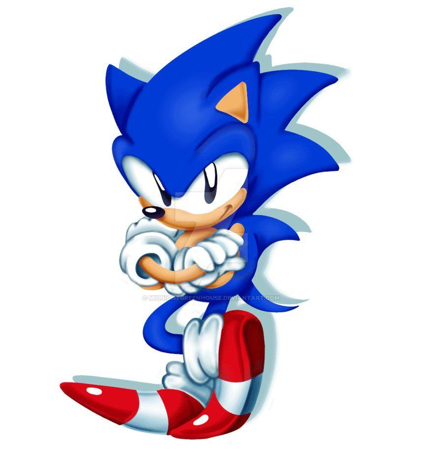 Classic Sonic By Https Www Deviantart Com Midnightgreenhouse On Deviantart Classic Sonic Sonic Sonic Art