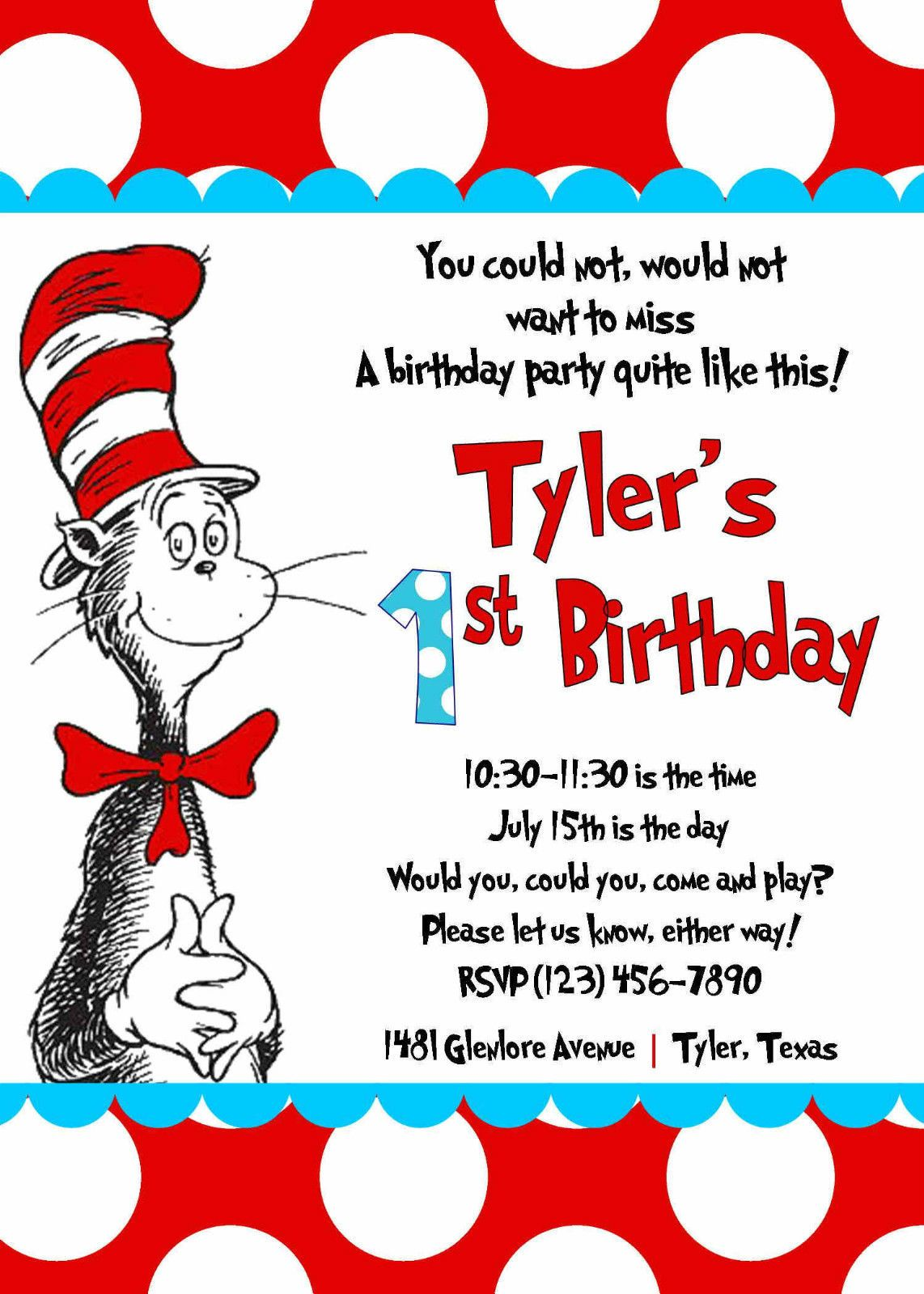 Cat in The Hat Invitation Printed 5x7 Customized Birthday Party Dr Seuss   eBay